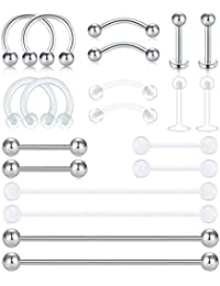 Incaton Ceja Barbell Acero Inoxidable & Piercing de Lengua Industrial Barbell Piercing Retainer Septum Labio Nariz