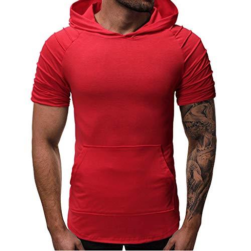 2019 maglietta uomo, moda estate t-shirt tops camicetta corto manica pieghe sottile in forma tasca raglan felpa con cappuccio maglietta, maglietta ragazza