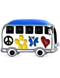 Bling JewelryLa paz y el amor de 925 autobuses de plata esmaltado encanto