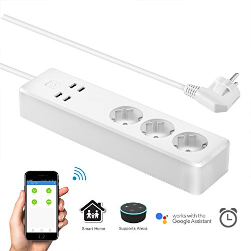 Regleta Enchufes Inteligente, Konesky Enchufe Inteligente Wifi Carga Rapida Smart Socket 3 Tomas 4 USB,Control Remoto y de Voz, Temporizador, Programador,Compatible conAmazon Alexa,Google Home