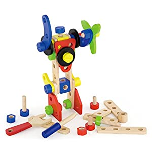 Eitech GmbH Viga Toys - Juego de construcción de Madera - 68 Piezas