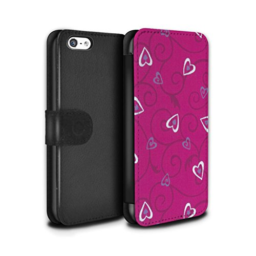 Stuff4 Coque/Etui/Housse Cuir PU Case/Cover pour Apple iPhone 5C / Violet/Bleu Design / Coeur Vigne Motif Collection Rose/Violet