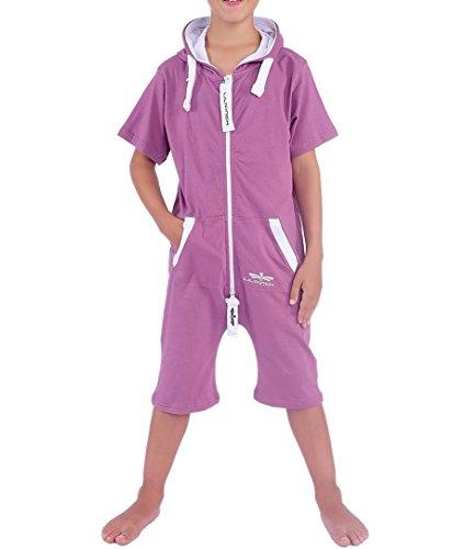 LIL'Finch 95Y4 Kinder Overall Sommerjumpsuit Jungen Mädchen Lila Gr. 134-140 (Kinder Violet Unglaubliche Kostüme)