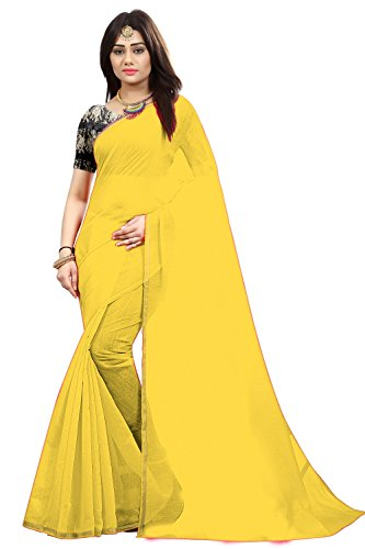 SilverStar Women's Chanderi Cotton Plain Saree With Printed Blouse Piece And Necklace (Yellow)