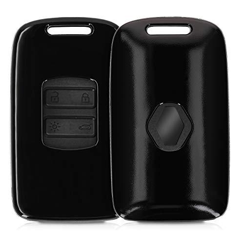 kwmobile Autoschlüssel Hülle für Renault - Hardcover Schutzhülle Schlüsselhülle für Renault 4-Tasten Smartkey Autoschlüssel (nur Keyless Go) Schwarz matt