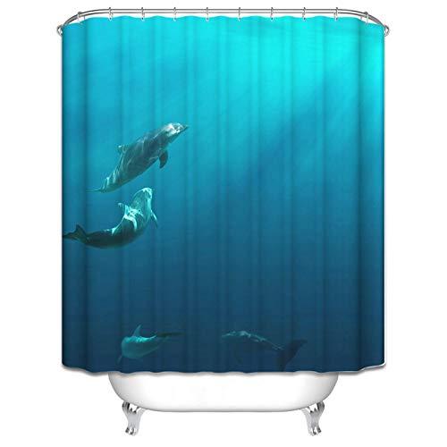 Beydodo Cortina Ducha Divertida Antimoho 3D Delfines