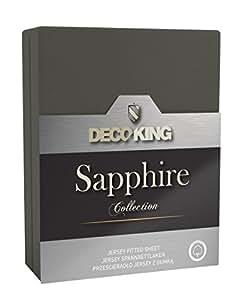 DecoKing 18958 Wasserbett Spannbettlaken 120 x 200 - 140 x 200 cm Jersey Baumwolle Spannbetttuch Sapphire Collection, stahl