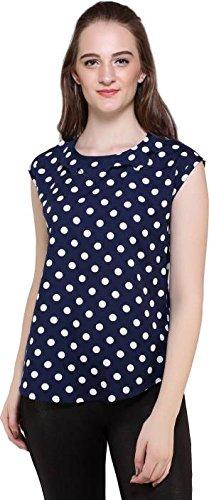 Mallory Winston women's Poly Crepe Polka Dots Ruffle Top (MW110-M, Multi Stripe,...