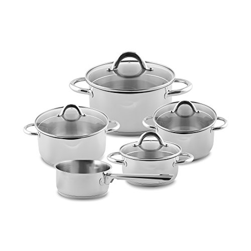 Induction Pot Set Sagan by K & G seit 1948 Stainless Steel Cookware Set with Glass Lids Suitable for Induction Hobs