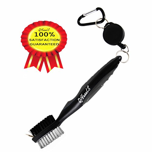 Golf Club Brush Golf Club Groove Cleaning Brush - 2 Ft Retractable Zip-line  Aluminum Carabiner Easily Attaches to Golf Bag - For Cleaning Golf