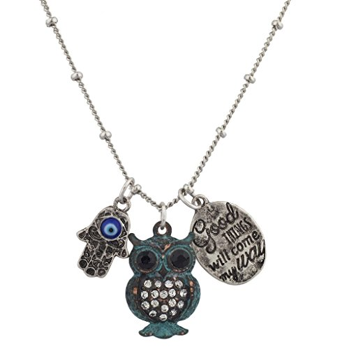 lux-accessori-boho-good-times-will-come-my-way-patina-gufo-hamsa-ciondolo-collana