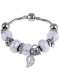 0007a9d08a1f WL Pulsera Brazalete Pulsera Brazalete de Plata para Mujer con Abalorios de  Cristal de Murano Blanco