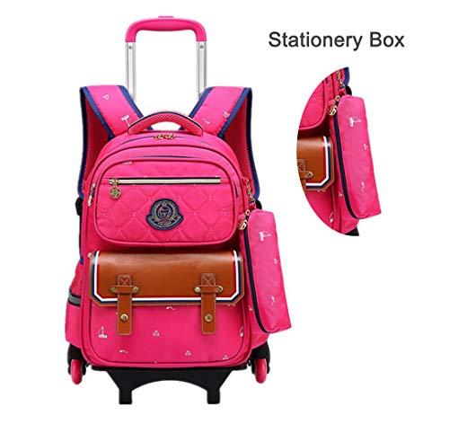 PL&Backpack Kinder Trolley Schultasche, 6 Räder Schultrolleys Rucksack Abnehmbar Rolling Kinderkoffer,Pink -