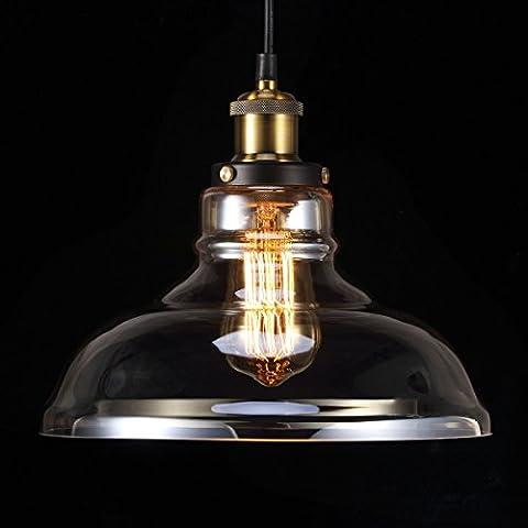 Vintage Pendant Light, S&G Amber Glass Ceiling Lamp Shade, Industrial Retro Hanging Lampshades, Modern E27 Edison Bulb Chandelier Light Shade, for Diner Hall Pub Restaurant Cafe Bedroom (Bulb not