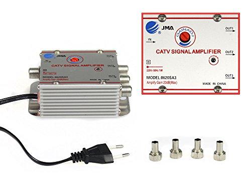 Vetrineinrete® sdoppiatore e amplificatore segnale televisivo tv 1 ingresso 3 uscite per antenna digitale terrestre 1 in 3 out g3