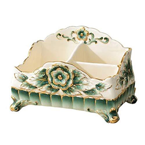 Preisvergleich Produktbild WeiLuShop Keramik-Tisch Aufbewahrungsbox Wohnzimmer Fernbedienung Serviette Box Kleines Stück Desktop Kreative Moderne Aufbewahrungsbox