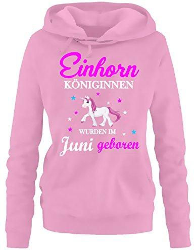 Einhorn Königinnen wurden im Juni geboren ! Damen HOODIE Sweatshirt mit Kapuze Pink, Gr.XXL