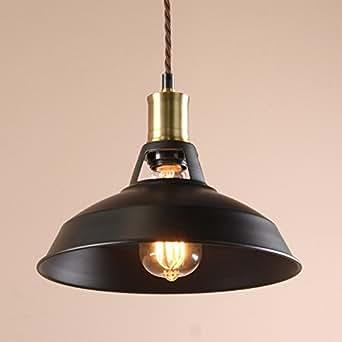 Buyee Suspension vinage de style industriel pour ampoule Edison Métal Noir