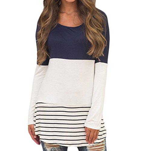 Femmes Manches Longues Cou Ronde Rayures Imprimé Casual Portefeuille Mode Slim Tops Haut T-Shirt Chemise Bleu