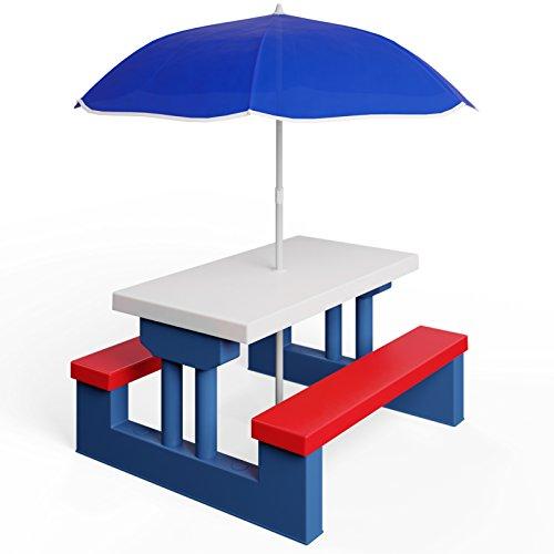 Deuba Kids Garden Table & Bench Picnic Set with Parasol � Outdoor Play Furniture Children Umbrella Chairs