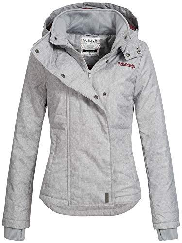 Sublevel Damen D5174X46550D Übergangsjacke Jacke mit Kapuze Pencil Grey Melange M