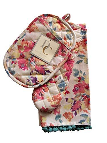 Deborah Connolly Küchenset, Ofenhandschuh, Topflappen, Geschirrtücher, Frühlingsblumenmuster auf naturfarbenem Hintergrund (Topflappen, Geschirrtücher)