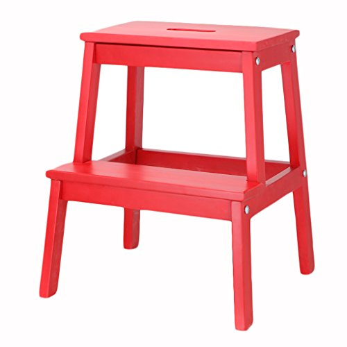 LIU UK Folding Chair Schritt Hocker Massivholz 2 Schicht Multifunktionsspeicher Hocker Schuh Bank Kinder Klettern Leiter Blume Standfuß Hocker Nordeuropa Für Indoor Küche Verwendung (Farbe : Rot)