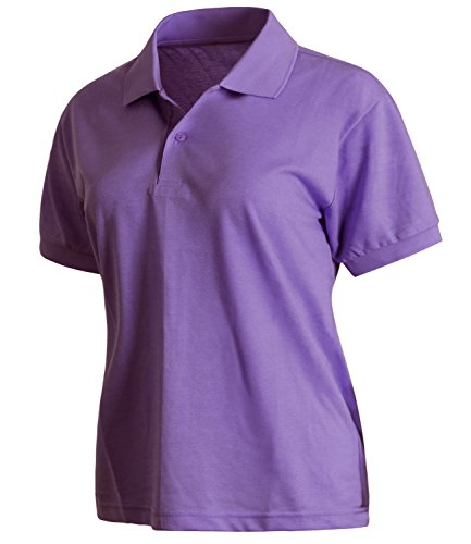 ililily Unisex Solid Short Sleeve Lightweight Stretch Jersey Knit Polo Shirt Top Purple