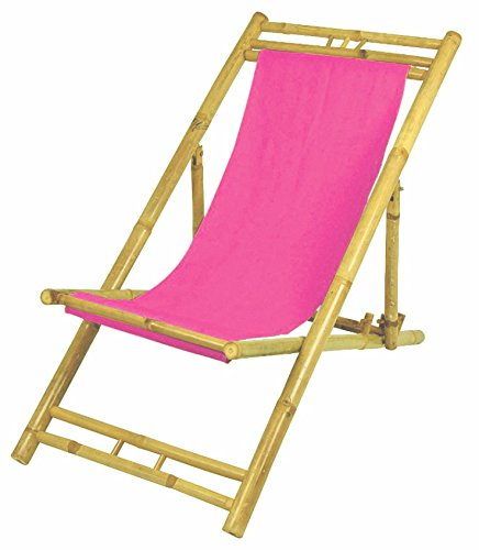 Dynamic24 Bambus Relax Liegestuhl klappbar (Pink)