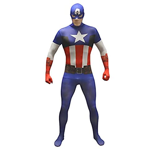 "Official Captain America Basic Morphsuit Fancy Dress Costume - size Xlarge - 5""10-6""1"