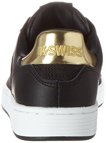 K-Swiss Clean Court Cmf, Sneakers Basses Femme Black-White-Gold