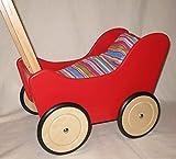 Puppenwagen - Lauflernwagen rot aus Holz mit Bremse und Bettwäsche 48x34x60cm