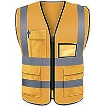 LUOSFUH Chaleco reflectante de seguridad de alta visibilidad Ropa de trabajo protectora Chaleco de trabajo para