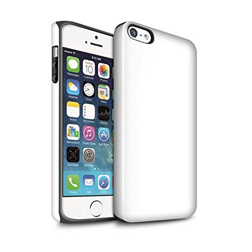Coque Brillant Robuste Antichoc de STUFF4 / Coque pour Apple iPhone 5C / Noir Design / Couleurs Collection Blanc