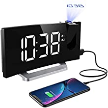 Mpow, Radio Clocks Bedside Mains Powered with USB Charger, Adjustable Brightness for Screen and Projection, Dual, 4 Alarm Sounds, Snooze, Sleep Timer, 12/24H, White, 23.4 x 9.6 x 5.9