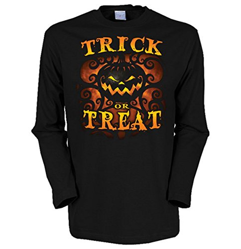 Halloween Herren Langarm-Shirt ::: Trick or Treat ::: für Halloween Schwarz