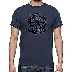 latostadora - Camiseta Aegishjalmur para Hombre Denim 3XL