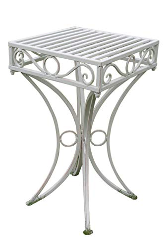 Olive Grove - Table d'appoint de jardin ou support de plante en métal style Versailles, finition blanc antique