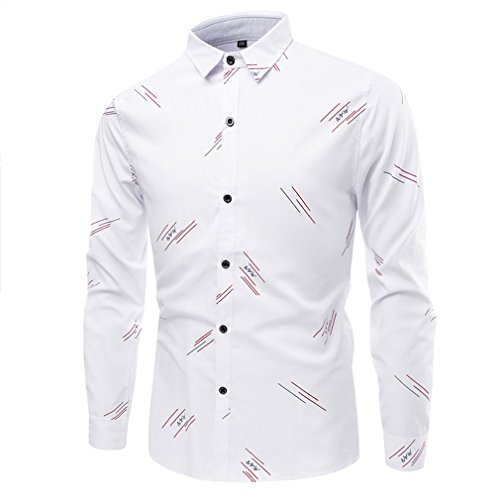 Honghu Homme Casual Manches Longues Slim Fit Chemise Blanc