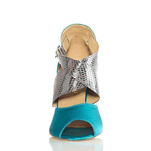 Chevillière Minitoo Ladies Chaussures de danse Satin Stage latine Bleu - bleu