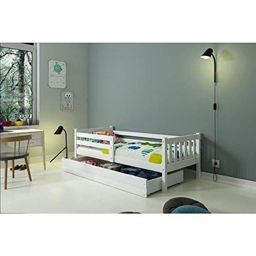 *Interbeds Lit Enfant CARINO 190×90 avec sommier et tiroir Blanc ou Gris (Blanc) Meilleure offre de prix