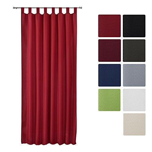 Beautissu Blickdichter Schlaufen-Vorhang Amelie - 140x245 cm Rot Uni - Dekorative Gardine Schlaufenschal Fenster-Schal