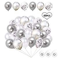 Flow.month 60pcs Party Balloons Halloween Balloons Decorations Christmas Balloons Decorations including 50Pcs Latex Balloons and 10Pcs Confetti Balloons for Birthday,Weddings, Party Decorations