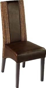 Chaise brun dossier tissage Loom