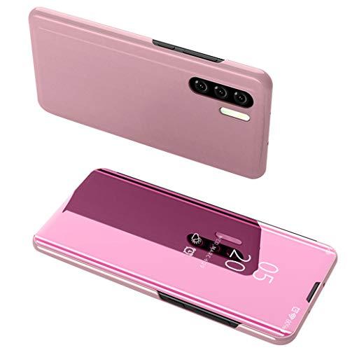 Hunpta@@ für Huawei P30 Pro 6.47inch Clear View Schutzhülle Spiegel Flip Smart Translucent View Fenster Sleep Ultra-Slim Handy-Tasche mit Sicht-Fenster Cover für Huawei P30 Pro (Rosa) Translucent Pink Case Cover