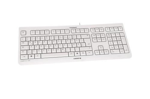 Cherry KC1000 Corded Ultraflat USB-Tastatur, weiß grau