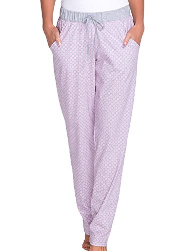 Babella 3080-2 Pantalon Feminin Top Qualité Bicolore Taille Normale Pyjama- Fabriqué En UE gris-rose