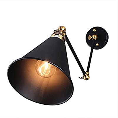 Fuloon Modern Vintage Industrial pendent Light Retro Wall Light Adjustable Metal E27 Perfect for Kitchen Dining Room Loft Coffee Bar ( Bulb not included )