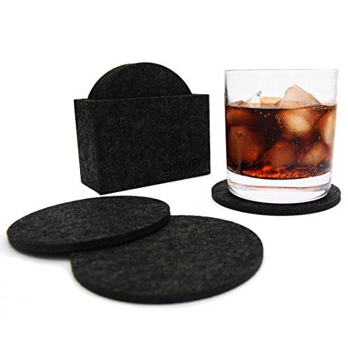 Glasuntersetzer aus Filz Getränke-Untersetzer für Tassen, Tisch, Bar, Glas, Gläser, 8er Set mit Box rund schwarz