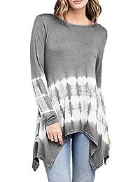 3e27585575afa6 VEMOW Herbst Frühling Damen Daily Pullover Frauen O-Neck Farbverlauf Lange  Ärmel Unregelmäßige Plus Size
